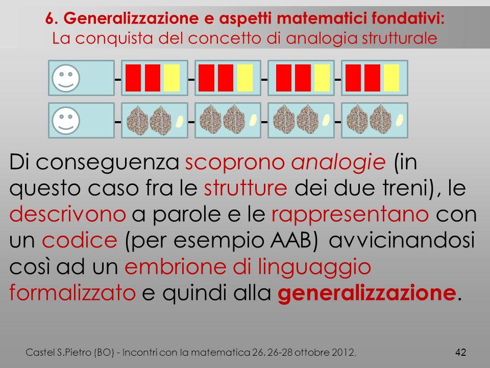 Di conseguenza scoprono analogie (in questo caso fra le strutture dei due treni), le descrivono a parole e le rappresentano con un codice (per esempio AAB) avvicinandosi così ad un embrione di linguaggio formalizzato e quindi alla generalizzazione.