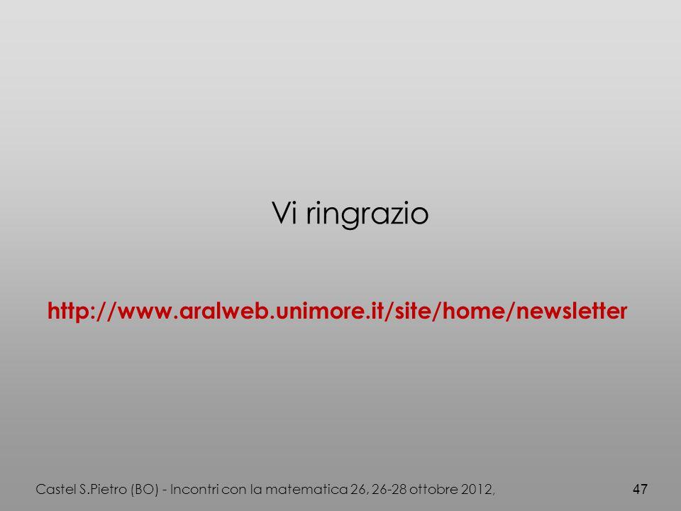 Castel S.Pietro (BO) - Incontri con la matematica 26, 26-28 ottobre 2012, 47 Vi ringrazio http://www.aralweb.unimore.it/site/home/newsletter