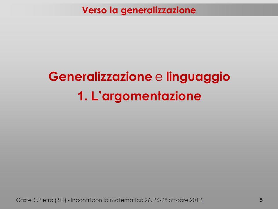 Verso la generalizzazione Generalizzazione e linguaggio 1.