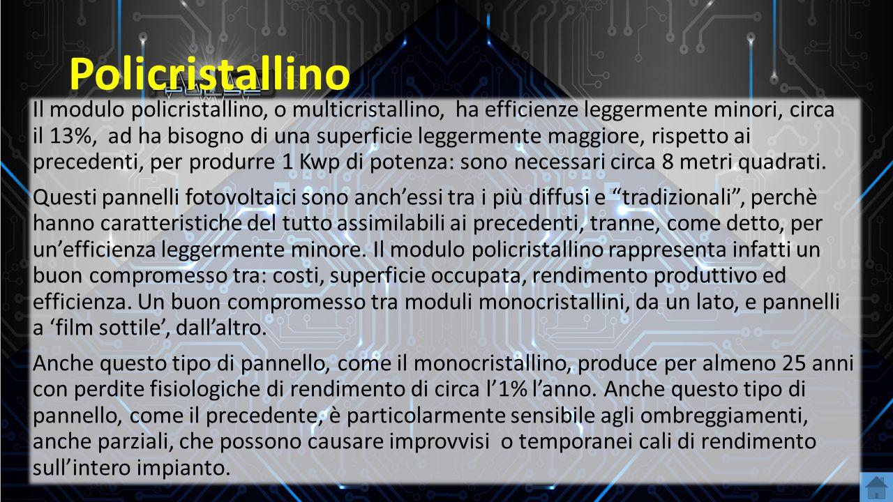 Policristallino Il modulo policristallino, o multicristallino, ha efficienze leggermente minori, circa il 13%, ad ha bisogno di una superficie leggerm