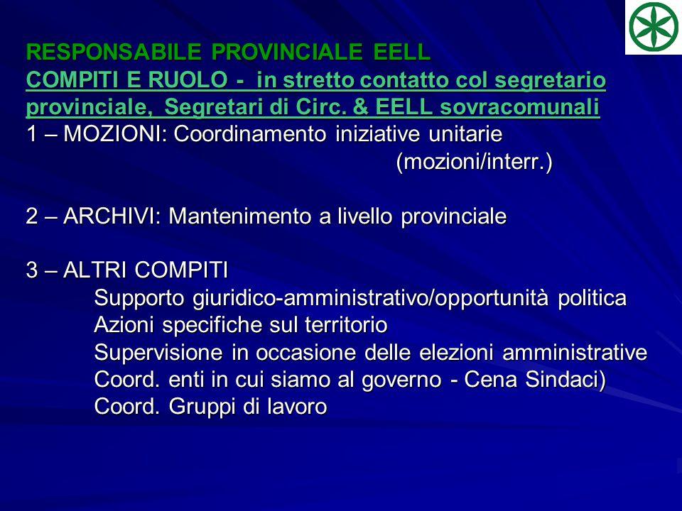 RESPONSABILE PROVINCIALE EELL COMPITI E RUOLO - in stretto contatto col segretario provinciale, Segretari di Circ.