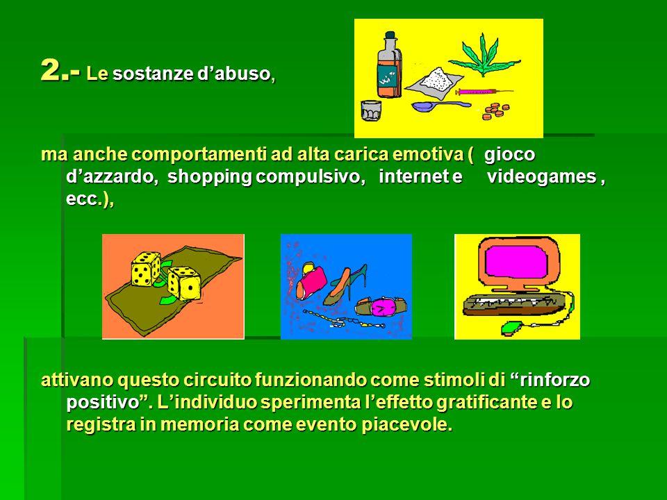 2.- Le sostanze d'abuso, ma anche comportamenti ad alta carica emotiva ( gioco d'azzardo, shopping compulsivo, internet e videogames, ecc.), attivano questo circuito funzionando come stimoli di rinforzo positivo .