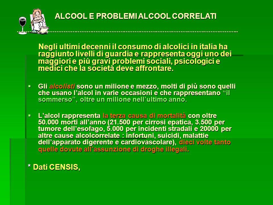Negli ultimi decenni il consumo di alcolici in italia ha raggiunto livelli di guardia e rappresenta oggi uno dei maggiori e più gravi problemi sociali, psicologici e medici che la società deve affrontare.
