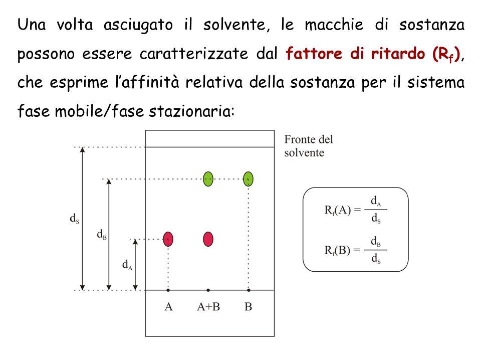 Una volta asciugato il solvente, le macchie di sostanza possono essere caratterizzate dal fattore di ritardo (R f ), che esprime l'affinità relativa d