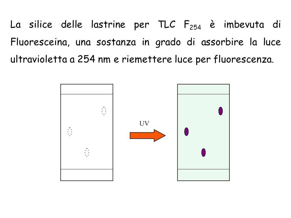 La silice delle lastrine per TLC F 254 è imbevuta di Fluoresceina, una sostanza in grado di assorbire la luce ultravioletta a 254 nm e riemettere luce