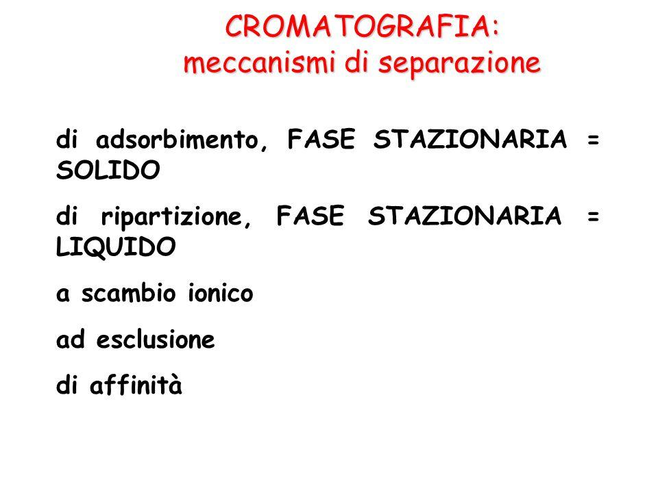 CROMATOGRAFIA: meccanismi di separazione di adsorbimento, FASE STAZIONARIA = SOLIDO di ripartizione, FASE STAZIONARIA = LIQUIDO a scambio ionico ad es