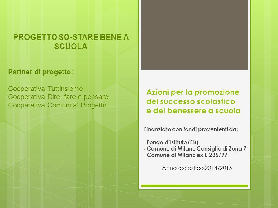 Azioni per la promozione del successo scolastico e del benessere a scuola Finanziato con fondi provenienti da: - Fondo d'Istituto (Fis) - Comune di Milano Consiglio di Zona 7 - Comune di Milano ex l.