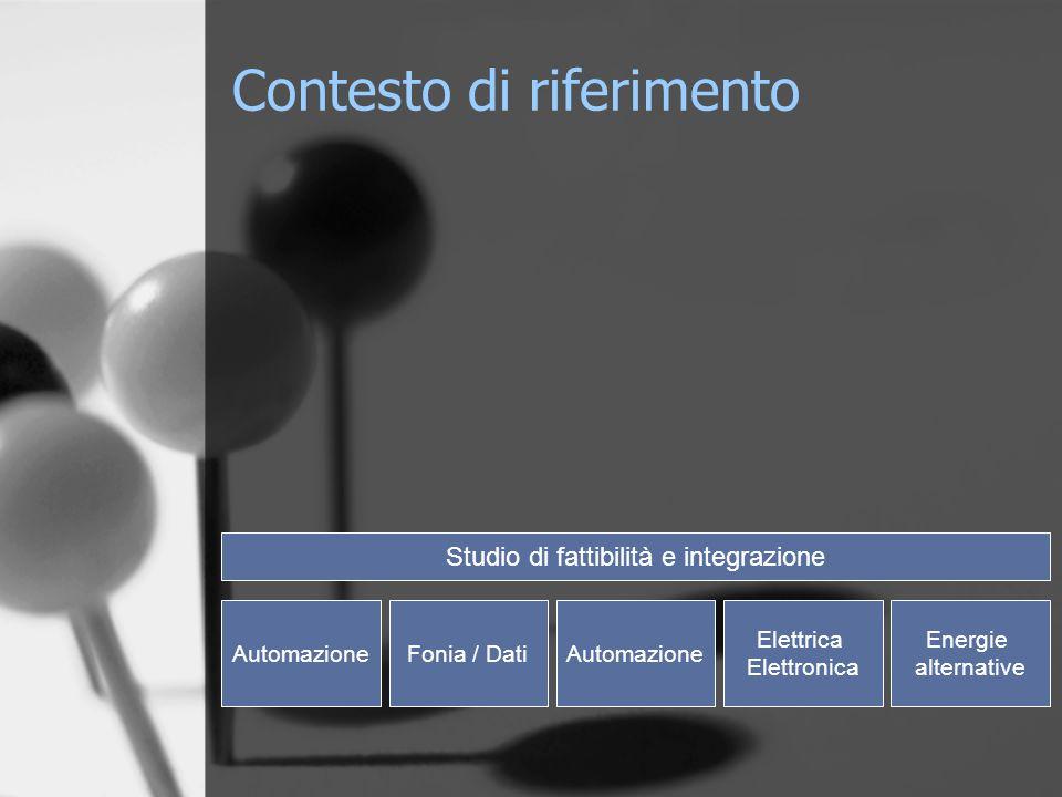 AutomazioneFonia / DatiAutomazione Elettrica Elettronica Energie alternative Studio di fattibilità e integrazione Contesto di riferimento