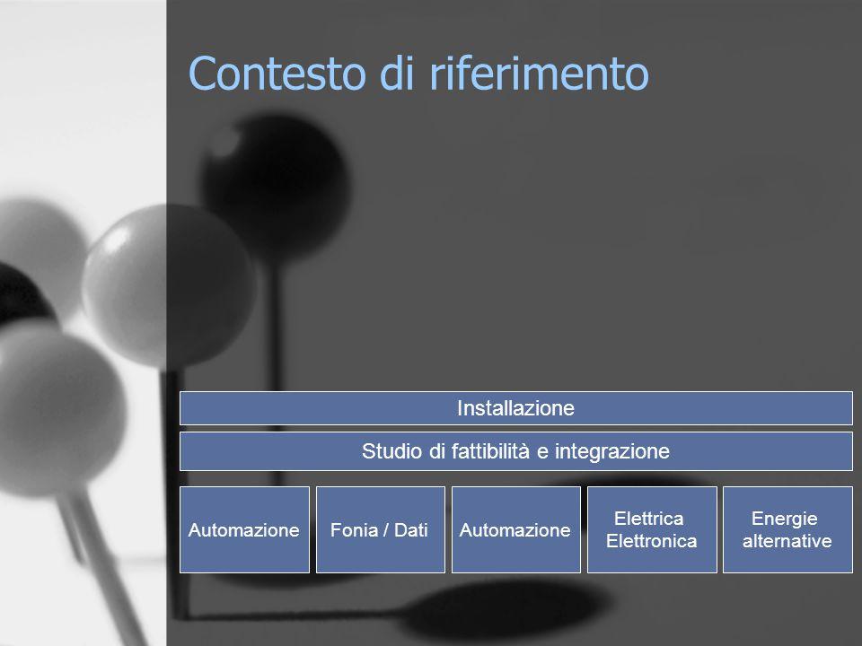 AutomazioneFonia / DatiAutomazione Elettrica Elettronica Energie alternative Studio di fattibilità e integrazione Installazione Contesto di riferimento