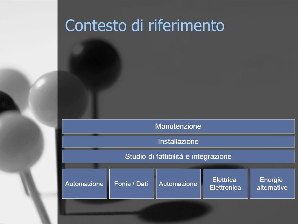 AutomazioneFonia / DatiAutomazione Elettrica Elettronica Energie alternative Studio di fattibilità e integrazione Installazione Manutenzione Contesto di riferimento