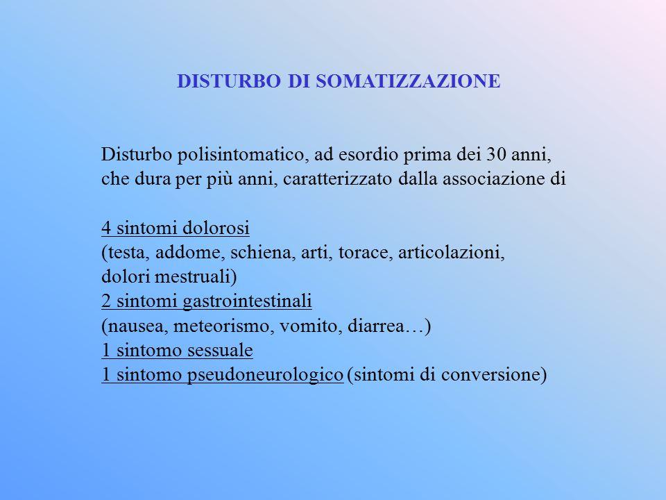 DISTURBO DI SOMATIZZAZIONE Disturbo polisintomatico, ad esordio prima dei 30 anni, che dura per più anni, caratterizzato dalla associazione di 4 sinto