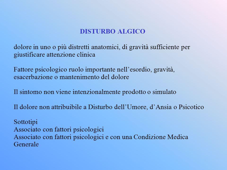 DISTURBO ALGICO dolore in uno o più distretti anatomici, di gravità sufficiente per giustificare attenzione clinica Fattore psicologico ruolo importan