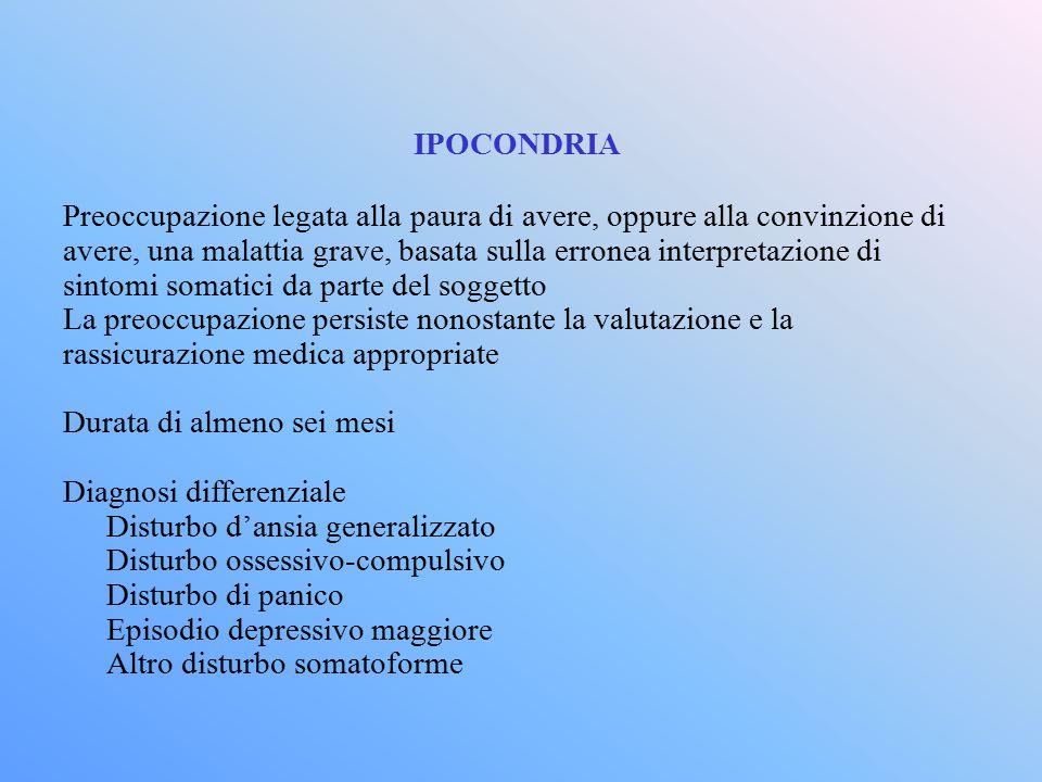 IPOCONDRIA Preoccupazione legata alla paura di avere, oppure alla convinzione di avere, una malattia grave, basata sulla erronea interpretazione di si