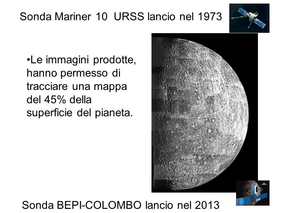 Le immagini prodotte, hanno permesso di tracciare una mappa del 45% della superficie del pianeta. Sonda Mariner 10 URSS lancio nel 1973 Sonda BEPI-COL