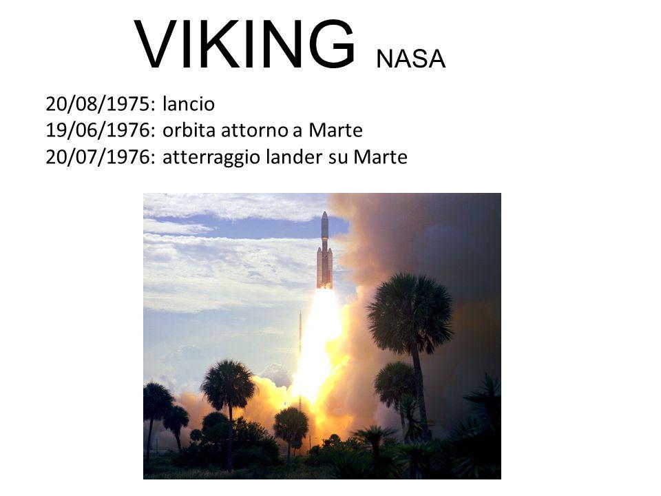 20/08/1975: lancio 19/06/1976: orbita attorno a Marte 20/07/1976: atterraggio lander su Marte VIKING NASA
