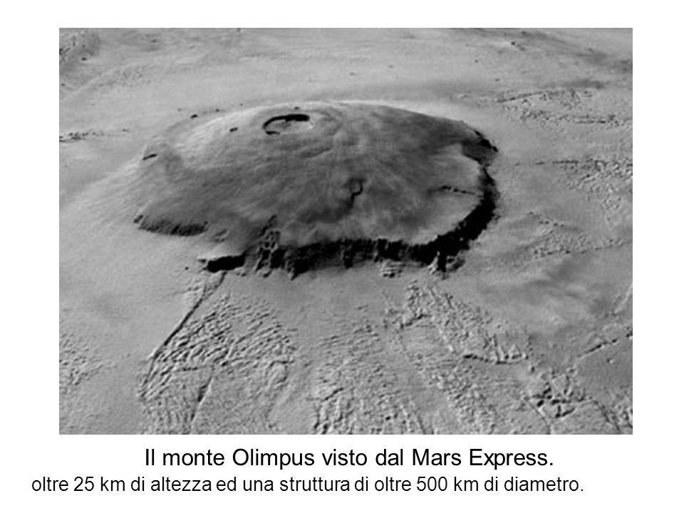 Il monte Olimpus visto dal Mars Express. oltre 25 km di altezza ed una struttura di oltre 500 km di diametro.
