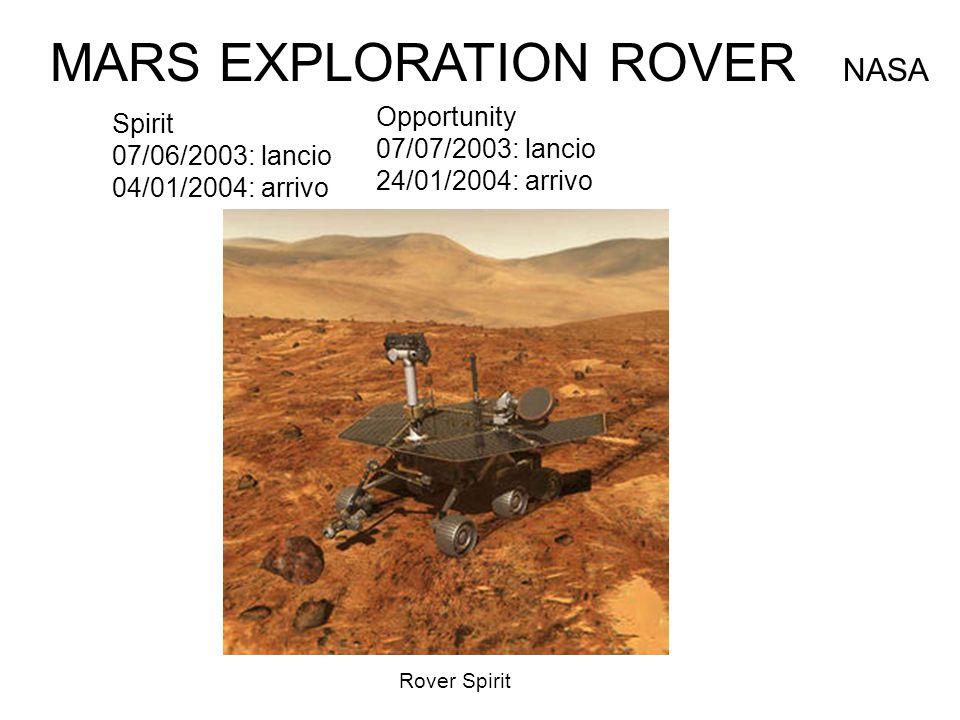 Spirit 07/06/2003: lancio 04/01/2004: arrivo MARS EXPLORATION ROVER NASA Opportunity 07/07/2003: lancio 24/01/2004: arrivo Rover Spirit