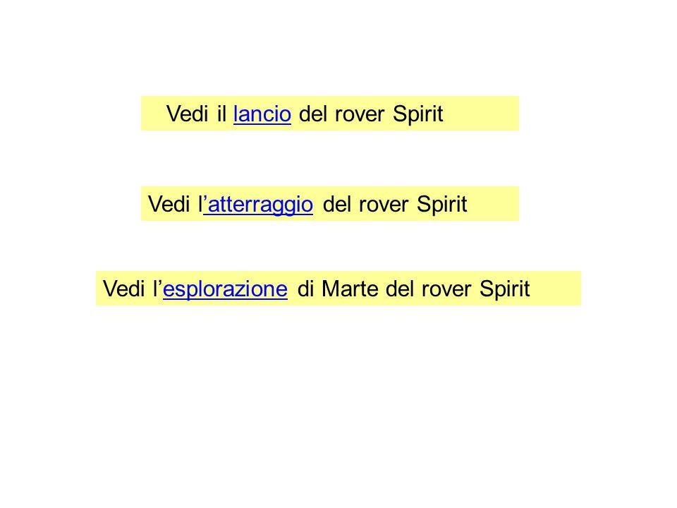 Vedi il lancio del rover Spirit Vedi l'atterraggio del rover Spirit Vedi l'esplorazione di Marte del rover Spirit