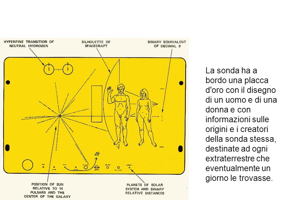 La sonda ha a bordo una placca d'oro con il disegno di un uomo e di una donna e con informazioni sulle origini e i creatori della sonda stessa, destin