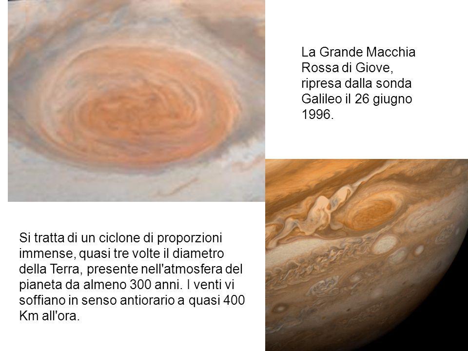 La Grande Macchia Rossa di Giove, ripresa dalla sonda Galileo il 26 giugno 1996. Si tratta di un ciclone di proporzioni immense, quasi tre volte il di