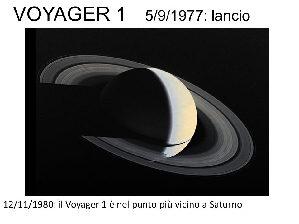 12/11/1980: il Voyager 1 è nel punto più vicino a Saturno 5/9/1977: lancio VOYAGER 1