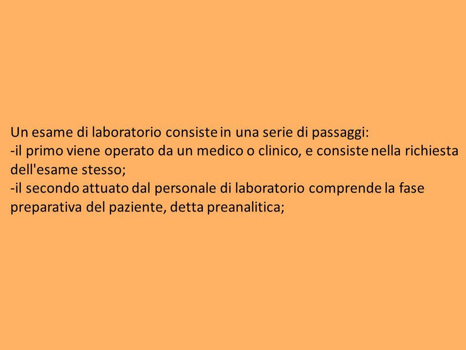 Un esame di laboratorio consiste in una serie di passaggi: -il primo viene operato da un medico o clinico, e consiste nella richiesta dell'esame stess
