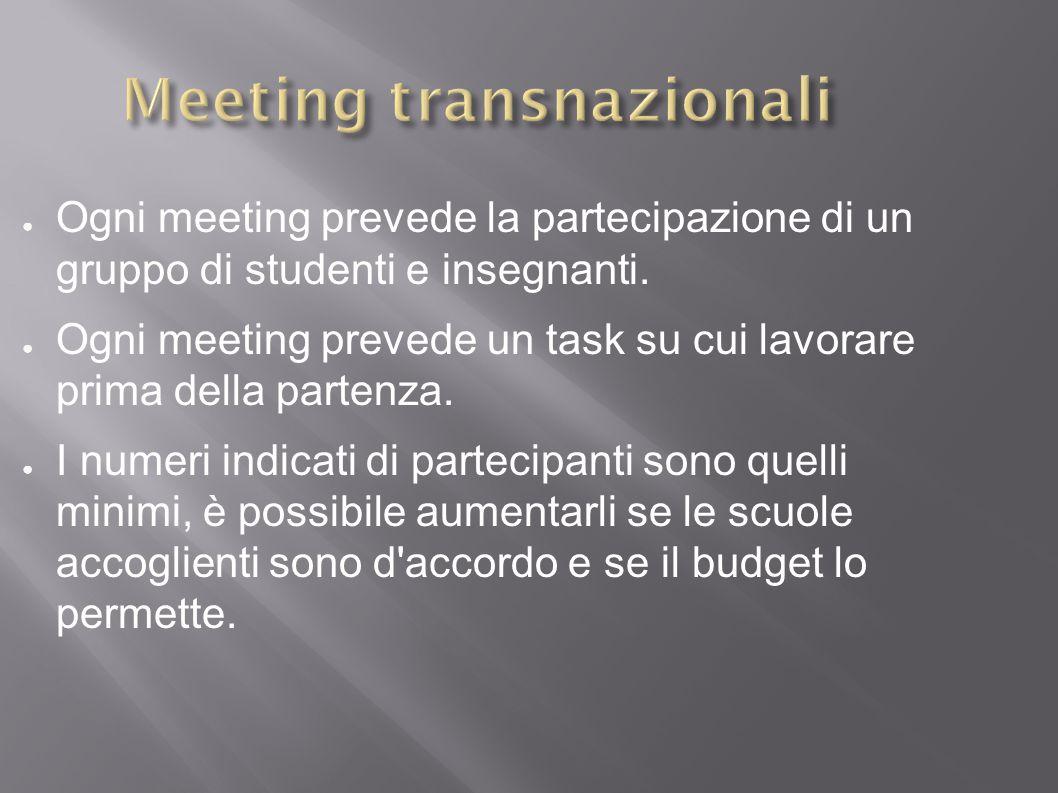 ● Ogni meeting prevede la partecipazione di un gruppo di studenti e insegnanti.