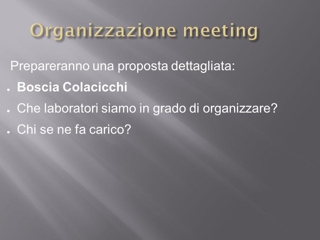 Prepareranno una proposta dettagliata: ● Boscia Colacicchi ● Che laboratori siamo in grado di organizzare.