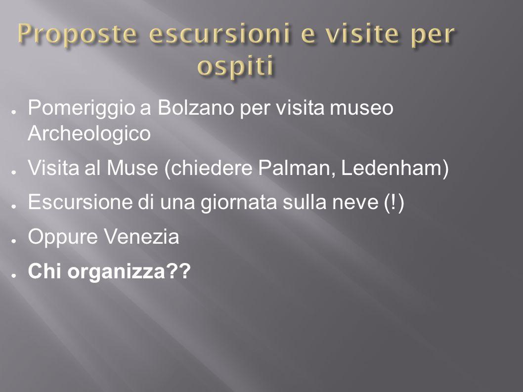 ● Pomeriggio a Bolzano per visita museo Archeologico ● Visita al Muse (chiedere Palman, Ledenham) ● Escursione di una giornata sulla neve (!) ● Oppure Venezia ● Chi organizza??
