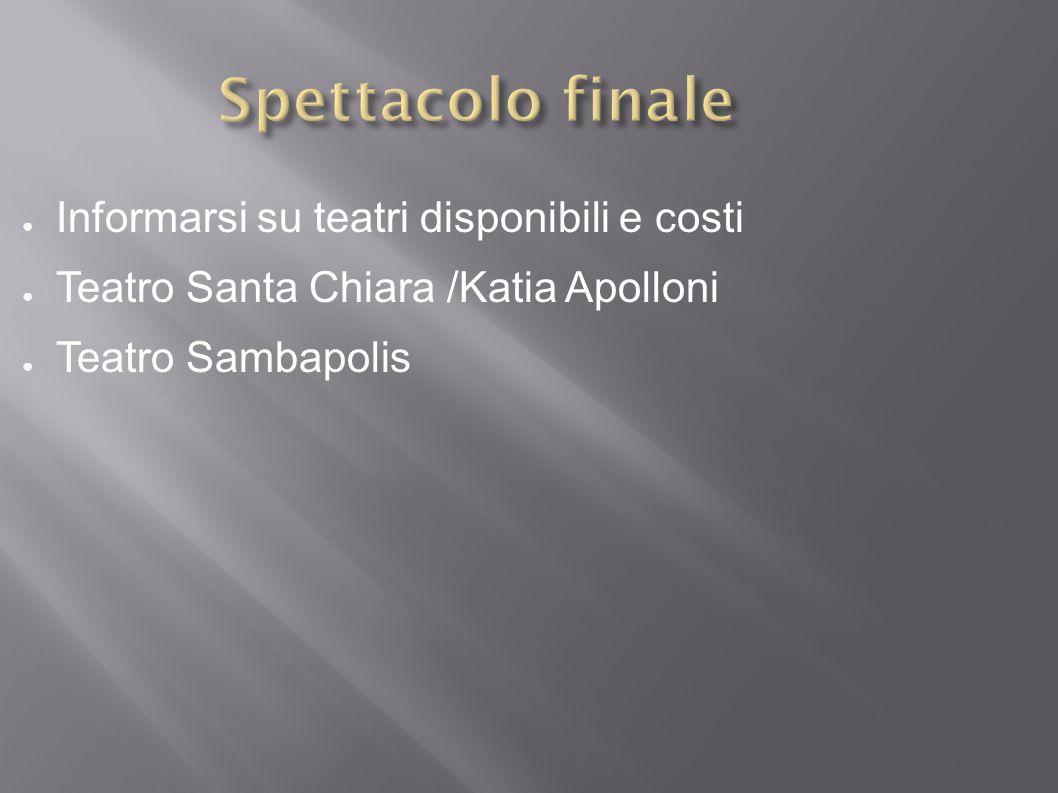 ● Informarsi su teatri disponibili e costi ● Teatro Santa Chiara /Katia Apolloni ● Teatro Sambapolis