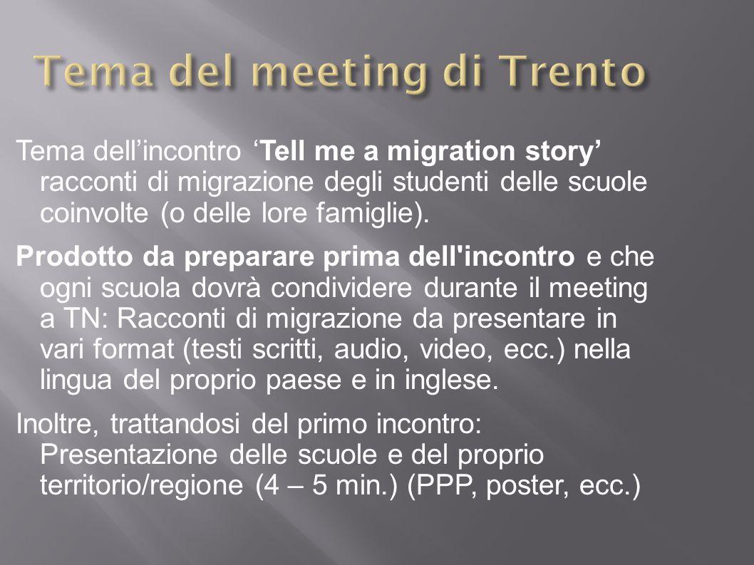 Tema dell'incontro 'Tell me a migration story' racconti di migrazione degli studenti delle scuole coinvolte (o delle lore famiglie).