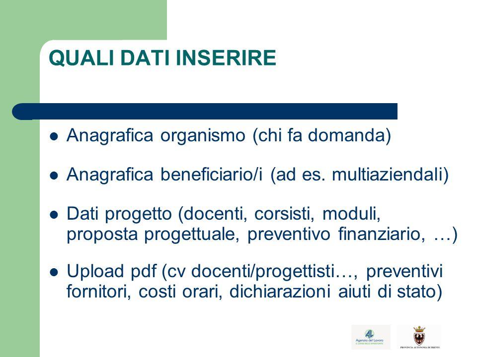 QUALI DATI INSERIRE Anagrafica organismo (chi fa domanda) Anagrafica beneficiario/i (ad es.