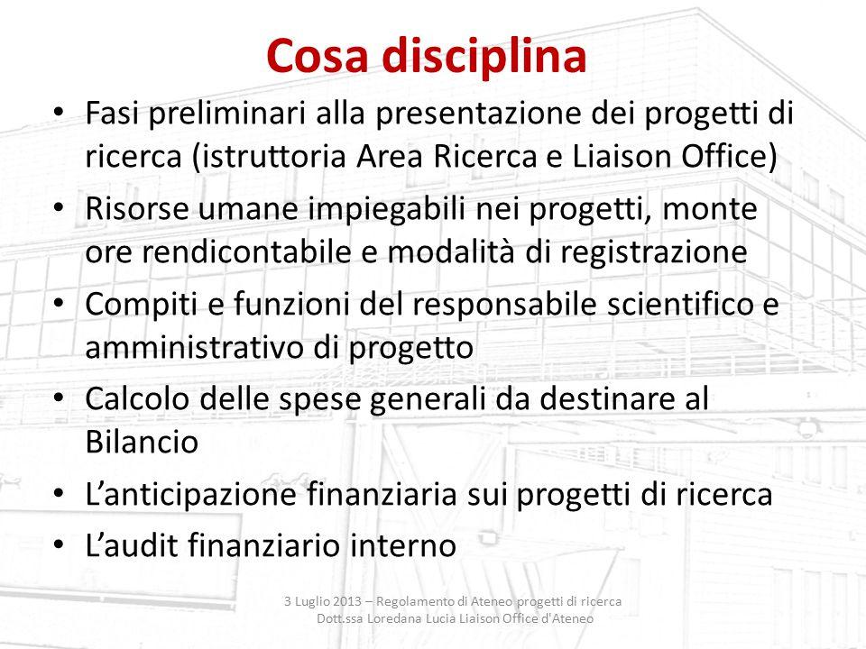 Cosa disciplina Fasi preliminari alla presentazione dei progetti di ricerca (istruttoria Area Ricerca e Liaison Office) Risorse umane impiegabili nei