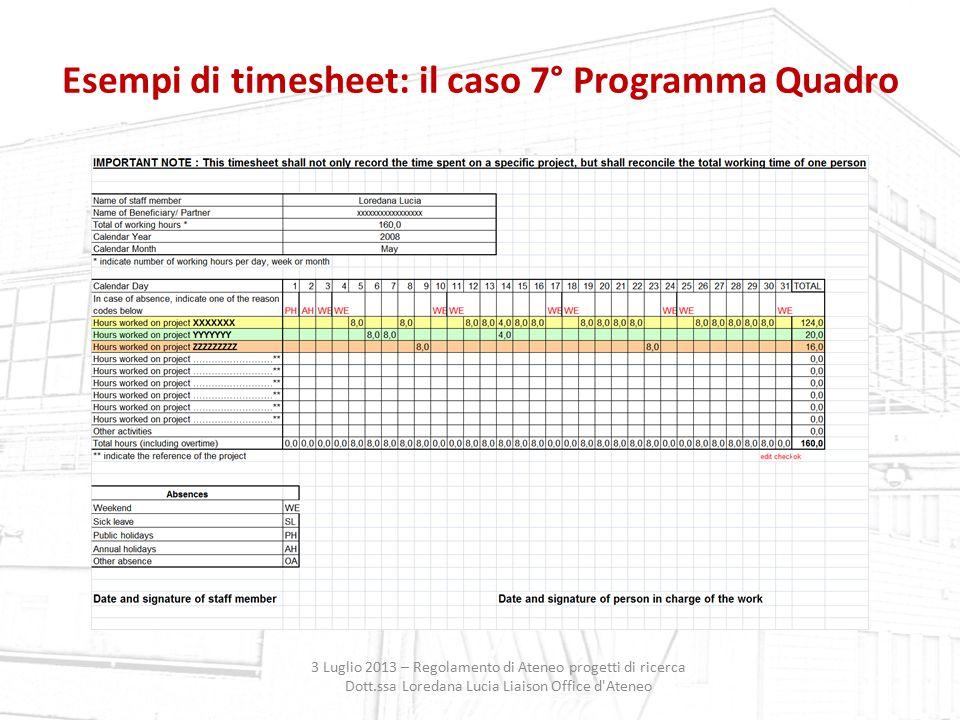 Esempi di timesheet: il caso 7° Programma Quadro 3 Luglio 2013 – Regolamento di Ateneo progetti di ricerca Dott.ssa Loredana Lucia Liaison Office d'At