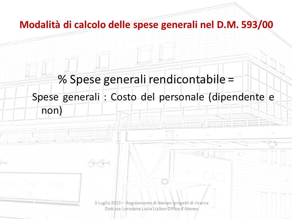 Modalità di calcolo delle spese generali nel D.M. 593/00 3 Luglio 2013 – Regolamento di Ateneo progetti di ricerca Dott.ssa Loredana Lucia Liaison Off