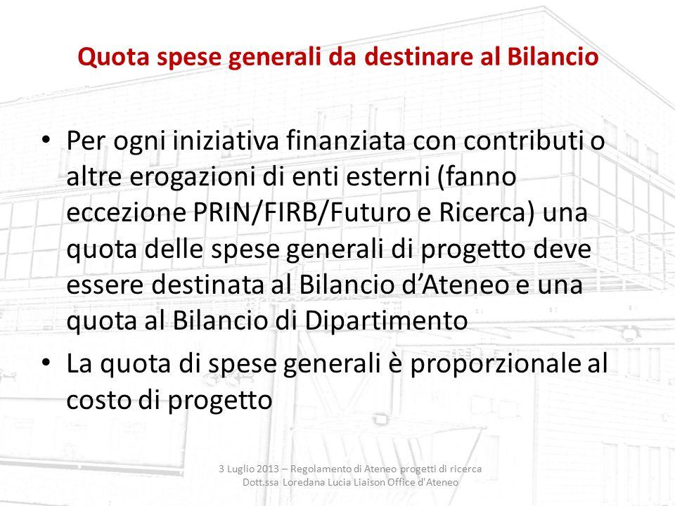 Quota spese generali da destinare al Bilancio 3 Luglio 2013 – Regolamento di Ateneo progetti di ricerca Dott.ssa Loredana Lucia Liaison Office d'Atene