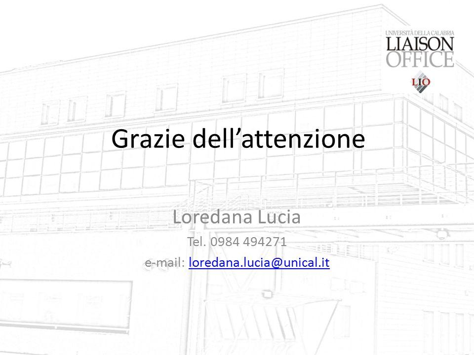 Grazie dell'attenzione Loredana Lucia Tel. 0984 494271 e-mail: loredana.lucia@unical.itloredana.lucia@unical.it