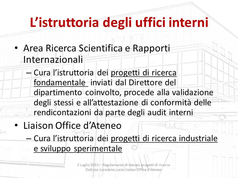 L'istruttoria degli uffici interni Area Ricerca Scientifica e Rapporti Internazionali – Cura l'istruttoria dei progetti di ricerca fondamentale inviat