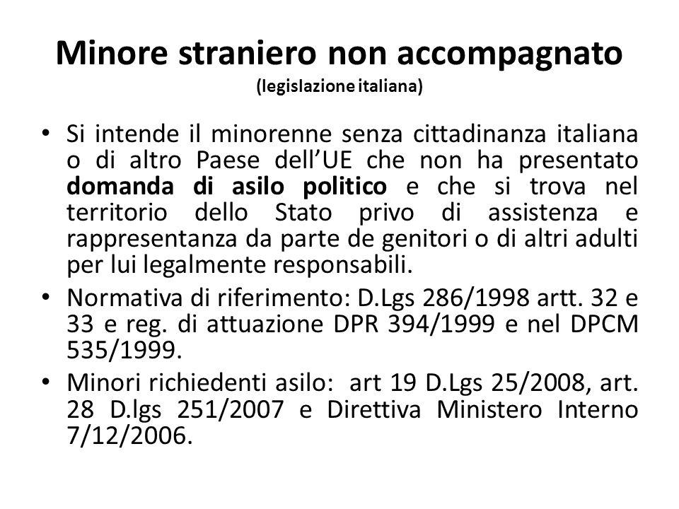 Definizione di minori stranieri non accompagnati nella (legislazione europea e internazionale) Convenzione sui diritti dell'infanzia, artt.