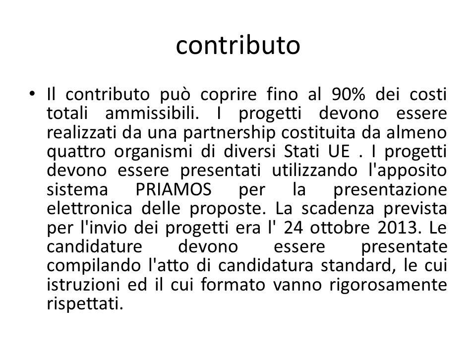 contributo Il contributo può coprire fino al 90% dei costi totali ammissibili.