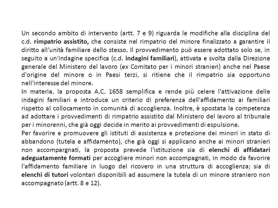 Un secondo ambito di intervento (artt. 7 e 9) riguarda le modifiche alla disciplina del c.d.