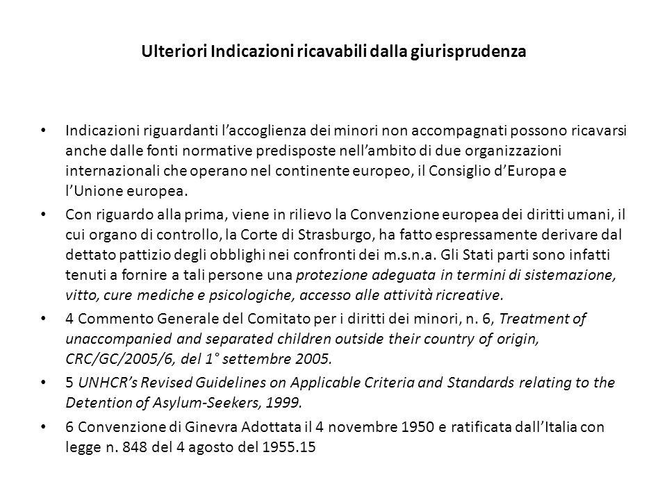 Ulteriori Indicazioni ricavabili dalla giurisprudenza Indicazioni riguardanti l'accoglienza dei minori non accompagnati possono ricavarsi anche dalle fonti normative predisposte nell'ambito di due organizzazioni internazionali che operano nel continente europeo, il Consiglio d'Europa e l'Unione europea.