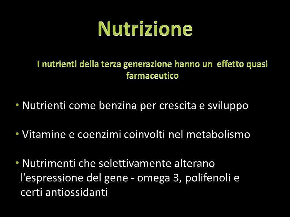 Nutrienti come benzina per crescita e sviluppo Vitamine e coenzimi coinvolti nel metabolismo Nutrimenti che selettivamente alterano l'espressione del gene - omega 3, polifenoli e certi antiossidanti