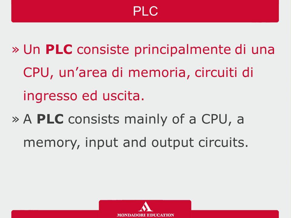 »Un PLC consiste principalmente di una CPU, un'area di memoria, circuiti di ingresso ed uscita. »A PLC consists mainly of a CPU, a memory, input and o