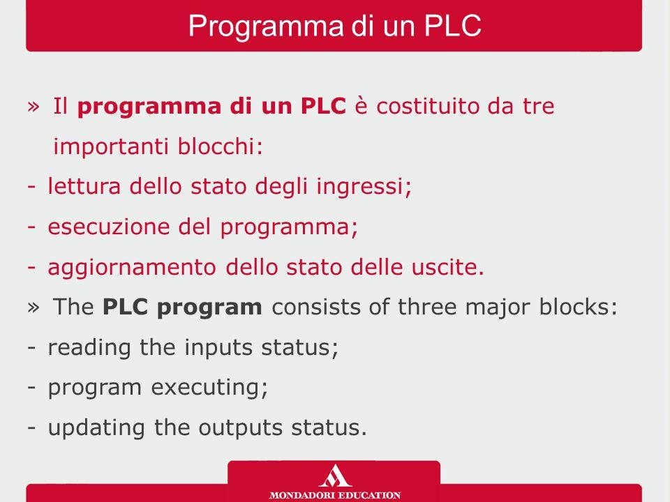 »Il programma di un PLC è costituito da tre importanti blocchi: -lettura dello stato degli ingressi; -esecuzione del programma; -aggiornamento dello s
