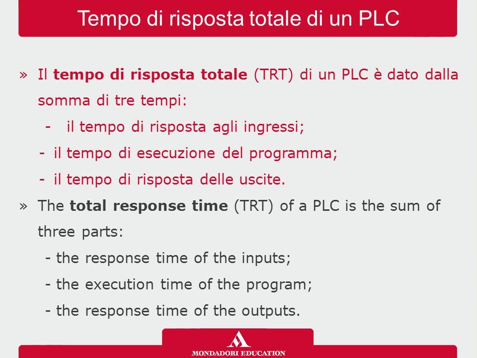 »Il tempo di risposta totale (TRT) di un PLC è dato dalla somma di tre tempi: - il tempo di risposta agli ingressi; -il tempo di esecuzione del progra