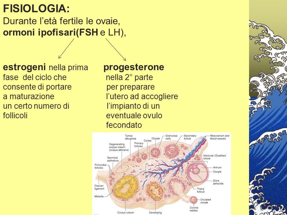 FISIOLOGIA: Durante l'età fertile le ovaie, ormoni ipofisari(FSH e LH), estrogeni nella prima progesterone fase del ciclo che nella 2° parte consente