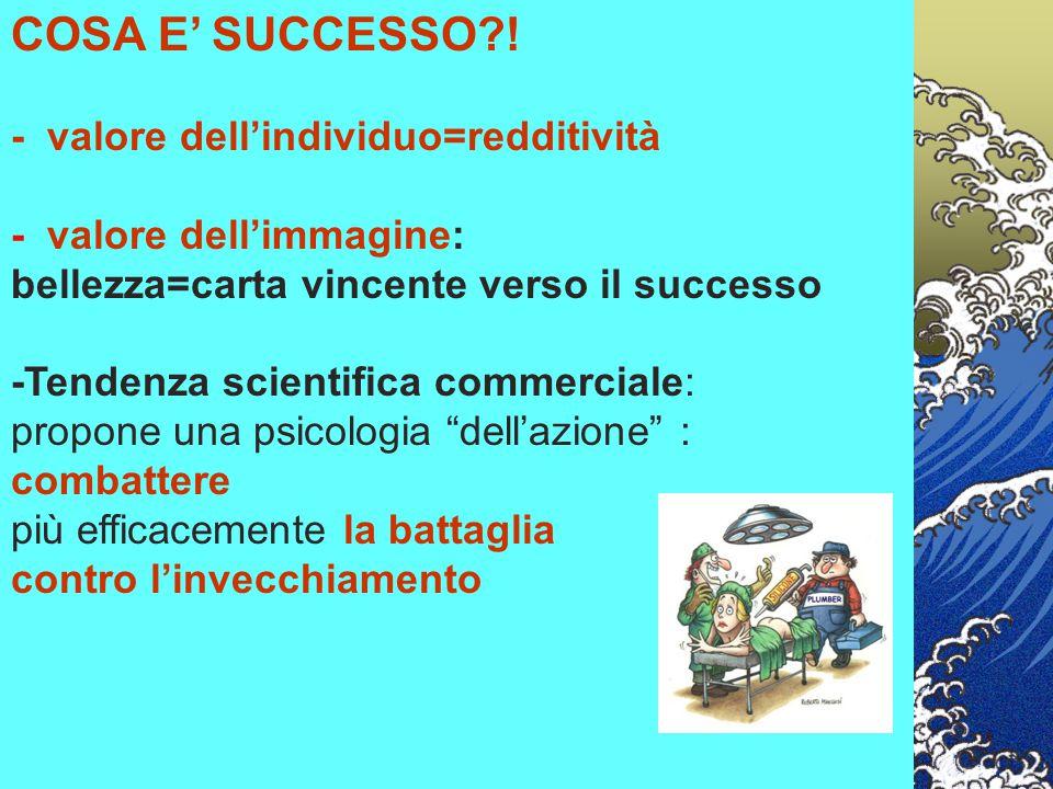 COSA E' SUCCESSO?! - valore dell'individuo=redditività - valore dell'immagine: bellezza=carta vincente verso il successo -Tendenza scientifica commerc