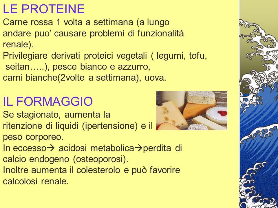 LE PROTEINE Carne rossa 1 volta a settimana (a lungo andare puo' causare problemi di funzionalità renale). Privilegiare derivati proteici vegetali ( l