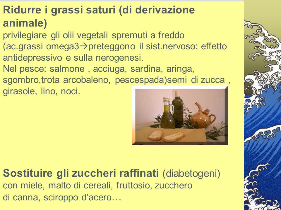 Ridurre i grassi saturi (di derivazione animale) privilegiare gli olii vegetali spremuti a freddo (ac.grassi omega3  preteggono il sist.nervoso: effe